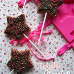 Triple chocolate star pops