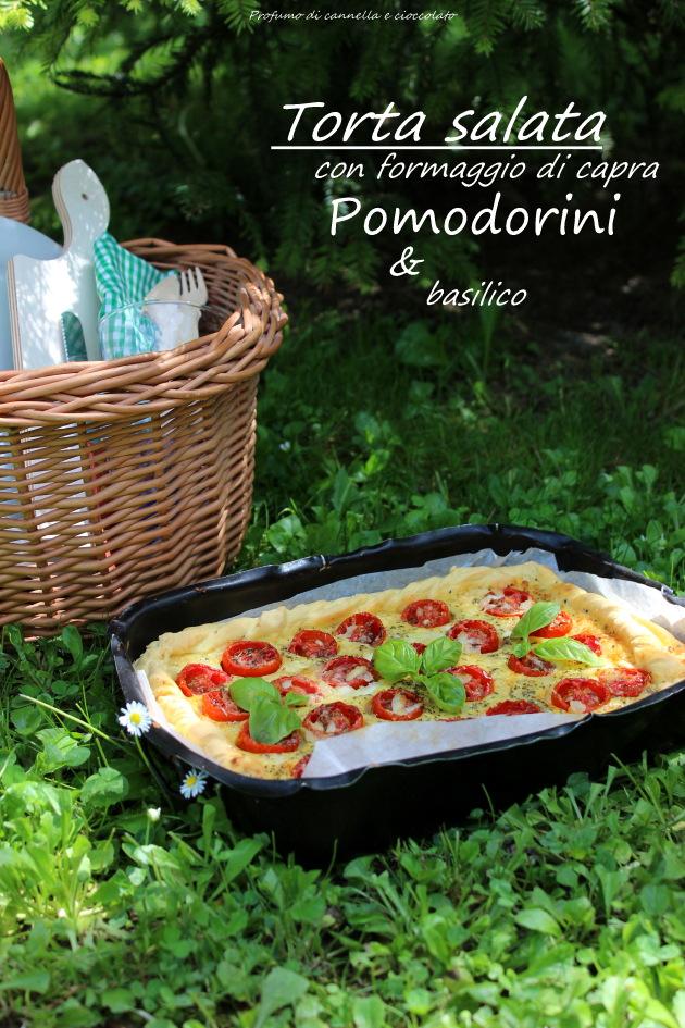 Torta salata con formaggio di capra, pomodorini e basilico