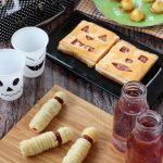 Halloween ideas: Mummy dog, Jack-o'-Lantern Sandwiches, Mele caramellate, Marshmallow fantasma