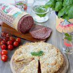 Sbriciolata salata con salame milano, crescenza e pomodorini per #morsidautoreclai