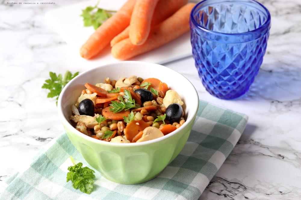Insalata tiepida di farro, carote e cavolfiore