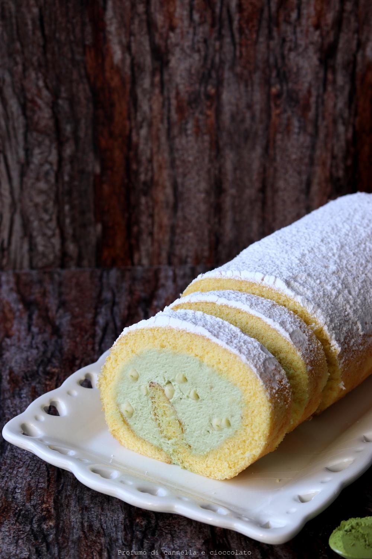 Rotolo alla vaniglia con crema al tè matcha