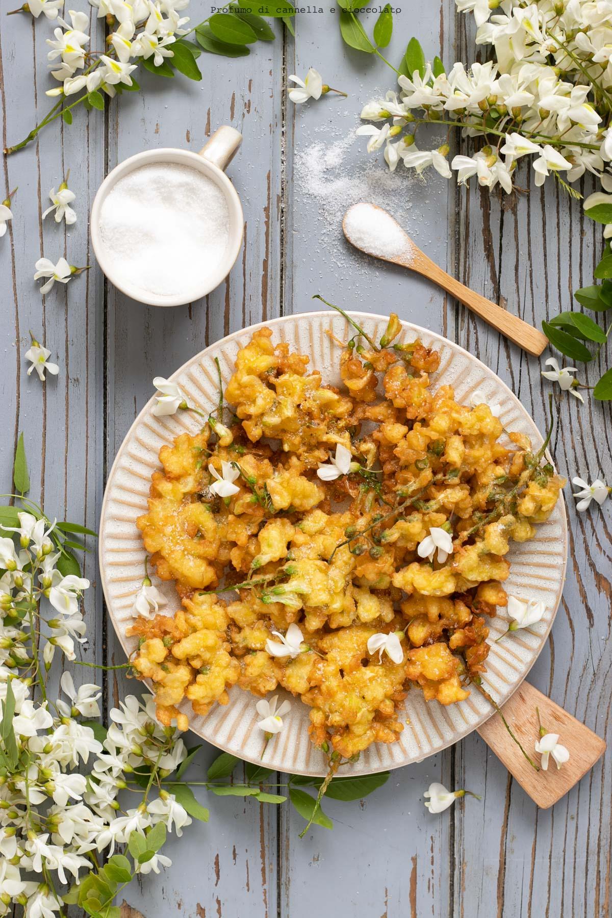 Frittelle dolci di fiori di acacia