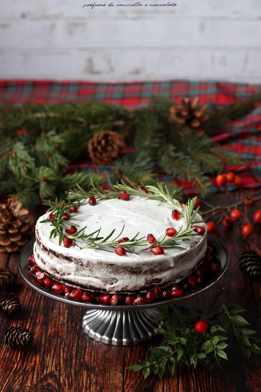Torte Decorate Per Natale vegan naked cake al cioccolato con panna di cocco | profumo