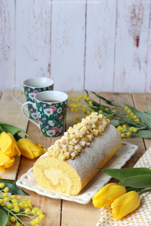 Rotolo mimosa al limone con crema al mascarpone
