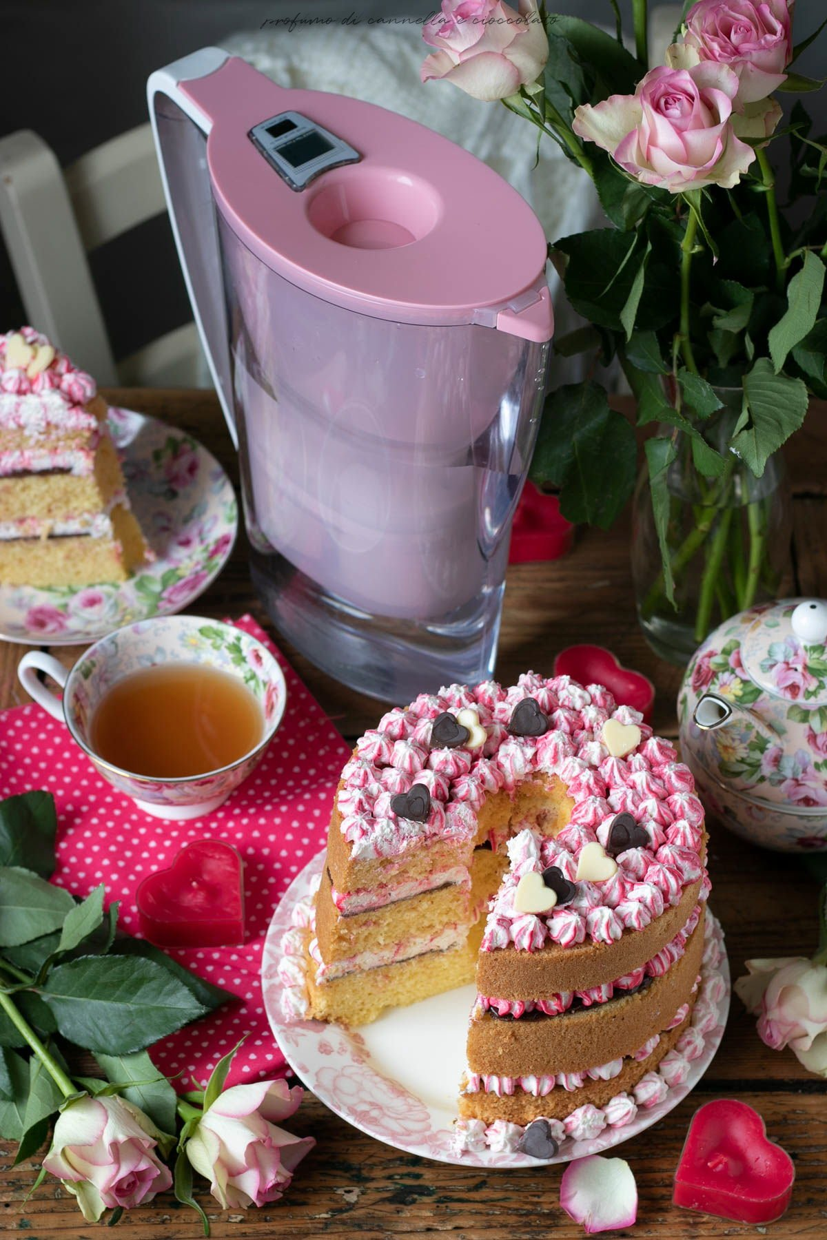 Chiffon cake con crema al mascarpone e crema di nocciole