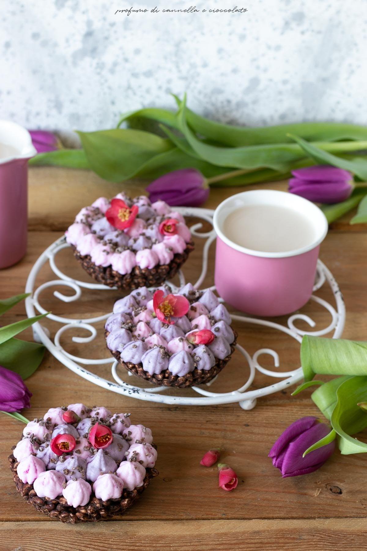 Tortine riso soffiato cioccolato e panna