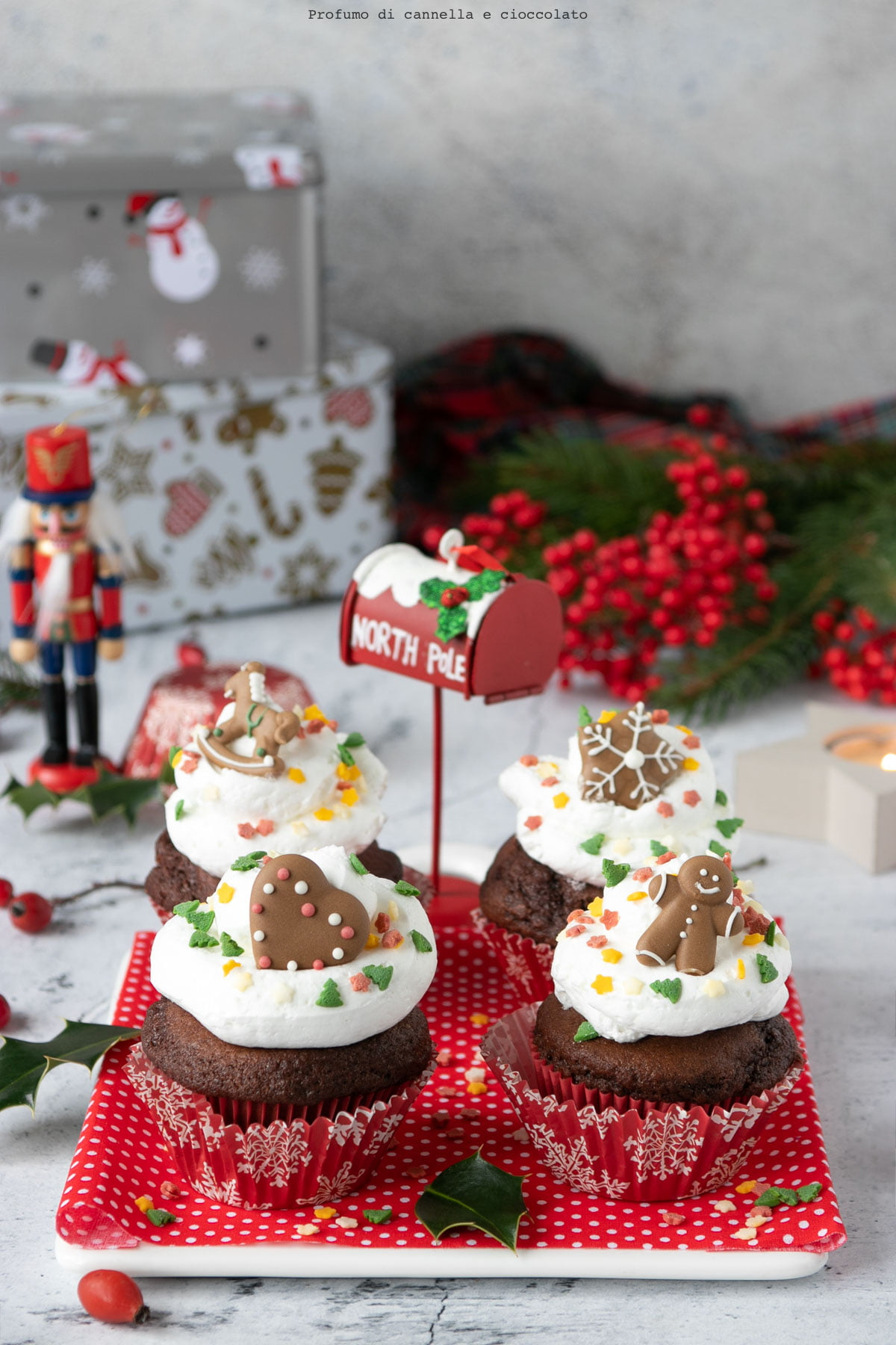 Cupcakes al cacao natalizi