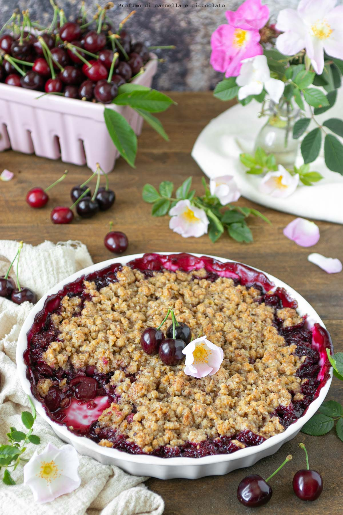 Crumble all'olio con ciliegie