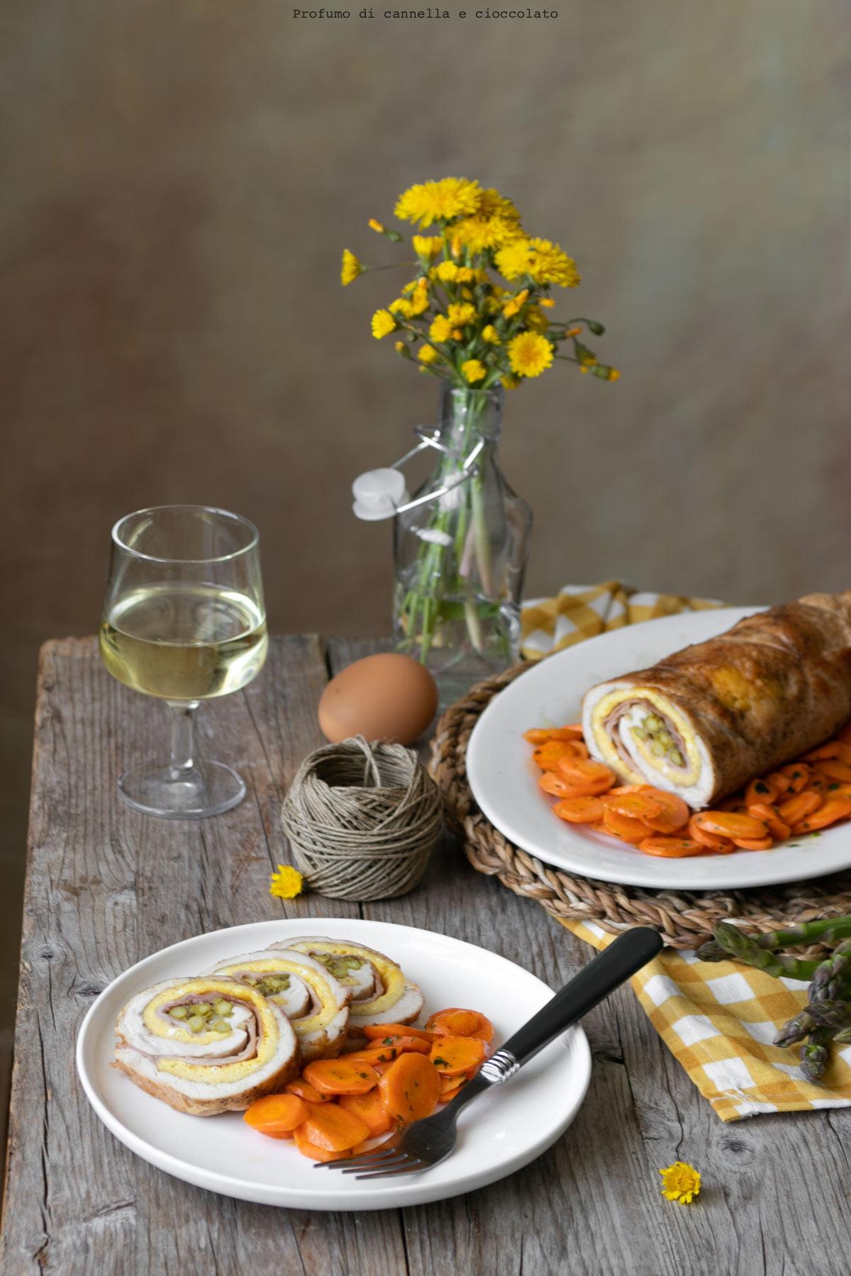 Rotolo di tacchino frittata e asparagi