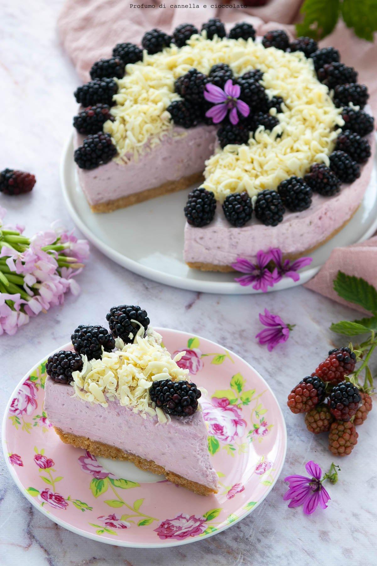 Cheesecake senza cottura alle more
