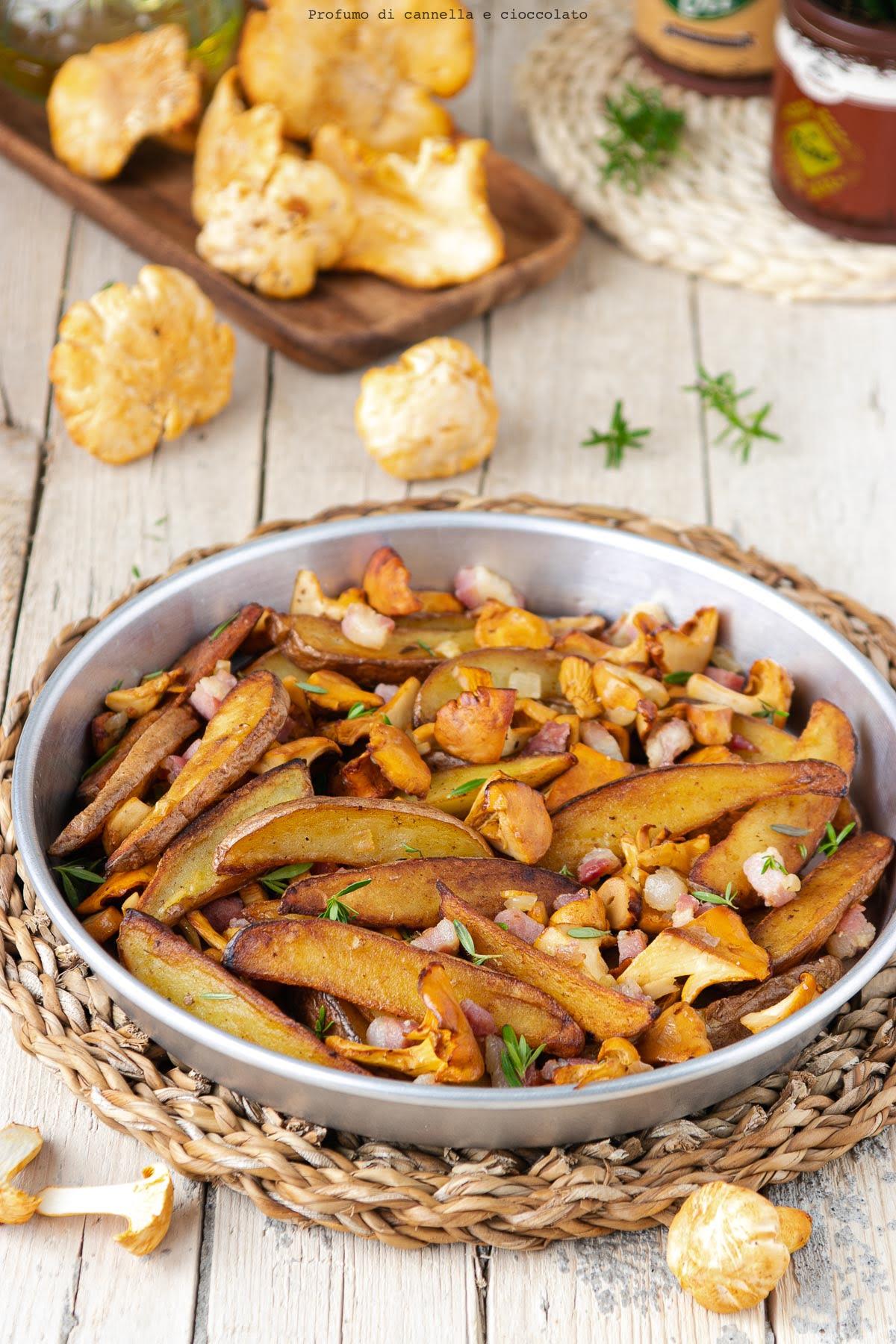 Patate con finferli e pancetta
