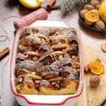 Pudding di pandoro con mele e noci