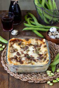 Lasagne fave salsiccia e crescenza
