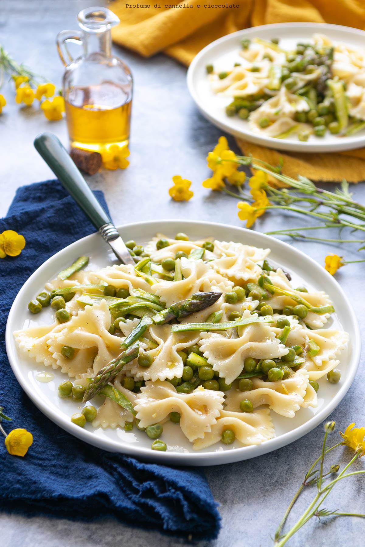 Pasta fredda asparagi piselli e limone