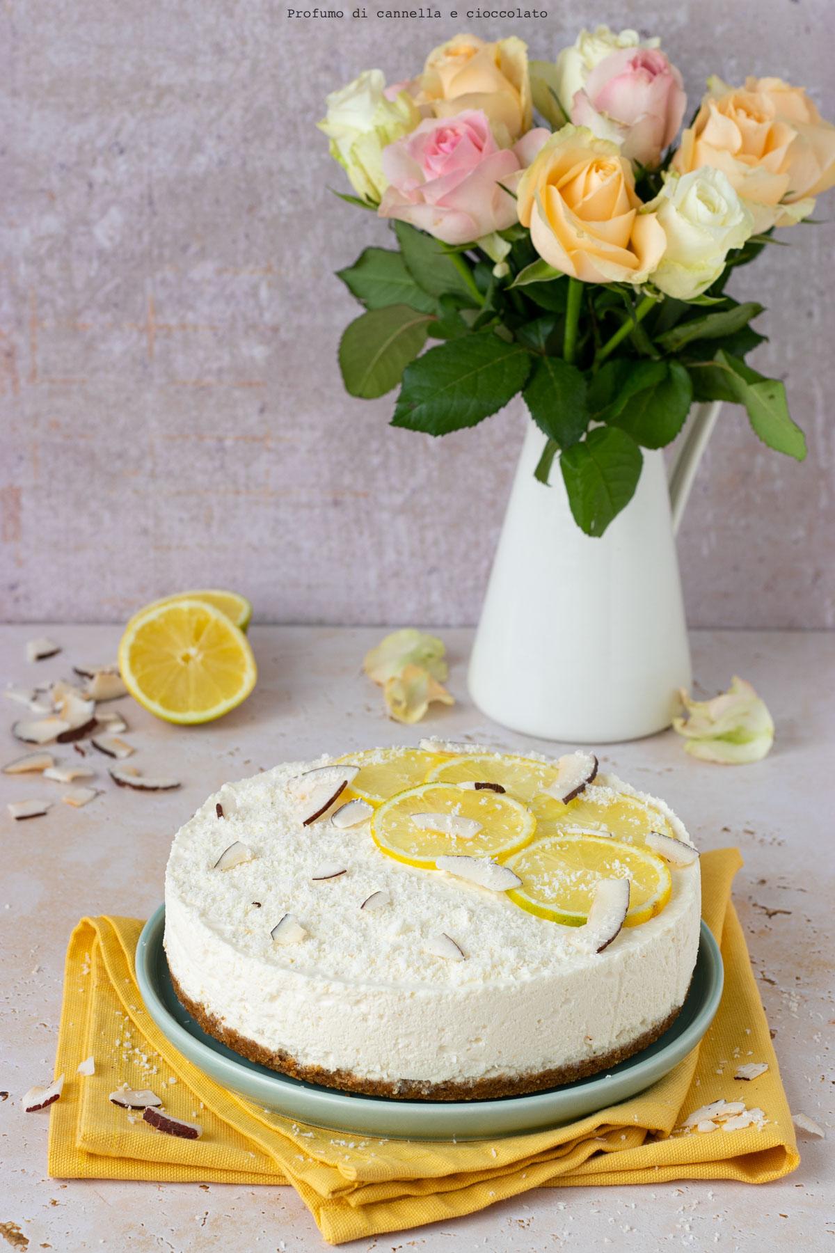 Cheesecake senza cottura cocco e limone